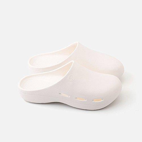 Pantoufles de l'hôpital de Protection Anti-dérapant Chaussures Chaussures chirurgicales Trou Chaussures (Couleur : Blanc, Taille : 39-40)