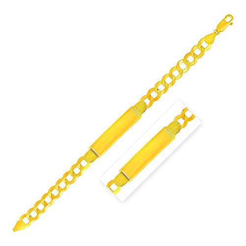 Pulsera de oro amarillo de 14 quilates con cadena ancha para hombre de 8 1/2 pulgadas