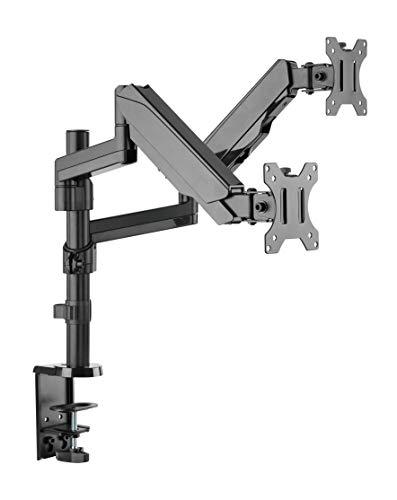 Dual 2 Fach Tischhalterung mit Gasdruckfeder für LED und LCD Monitore bis 32 Zoll VESA 75x75 100x100 HALTERUNGSPROFI OFFICE-GS425