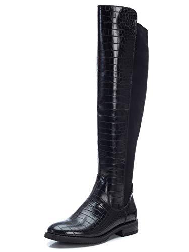 XTI - Bota Mosquetera para Mujer - Cierre con Cremallera - - Color Negro - Talla 38