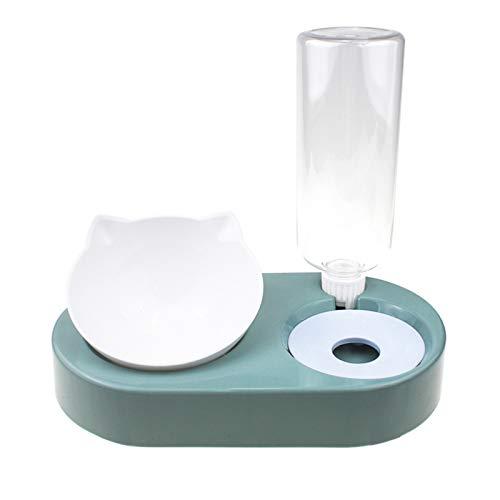 Acreny Dispensador de alimentación para gatos 2 en 1, alimentador de agua y alimentos, 500 ml, botella de agua desmontable y cuenco de comida para perros y mascotas