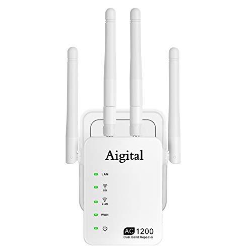 Aigital 1200Mbit/s WLAN Repeater, Handlichen WLAN Verstärker Extender DualBand 2.4GHz/5GHz mit Ethernet-Anschluss, 4 Antenne kompatibel zu Allen WLAN Geräten, Einfache Einrichtung-802.11 AC/B/G/N