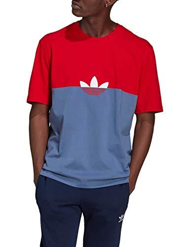 Adidas T-Shirt Quadrada Sliced Trefoil Adicolor Crew Blue / Scarlet M - GN3503-0003-M