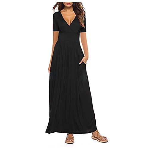 Maxikleider Damen Sommerkleid Casual Loose Kurzarm Lange Kleid Mit Tasche V Ausschnitt A-Linie Partykleid Bohokleid Strandkleid
