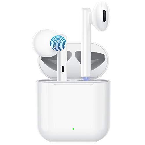 CNTech Auricolari Bluetooth per iPhone Cuffie Bluetooth 5.0 Senza Fili in-Ear Auricolari Wireless Cuffie Stereo Auricolari Bluetooth con Microfono e Controllo Touch per Android Smartphone-Bianco
