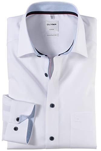 OLYMP Luxor Comfort fit Hemd Langarm New Kent Kragen weiß Größe 43