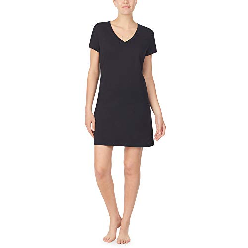 Nautica Women's V-Neck Sleep Shirt, 100% Cotton Jersey, Black, L