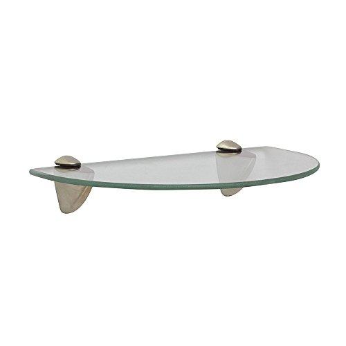 Shelf-Made KT-0134-812SN Curved Glass Shelf Kit, Satin Nickel, 8-Inch by 12-Inch