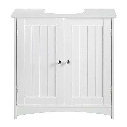 Mueble de tocador de baño, con puertas y estantes, unidades de almacenamiento de calidad (blanco, 60x30x60cm)