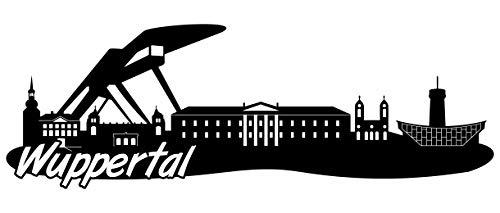 Samunshi® Wuppertal Skyline Wandtattoo Sticker Aufkleber Wandaufkleber City Gedruckt Wuppertal 120x41cm schwarz