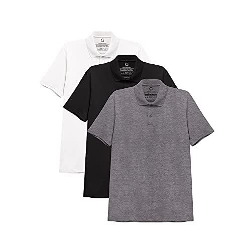 Kit 3 Camisa Polo Masculina,Branco/Preto/Mescla Escuro,basicamente.,G