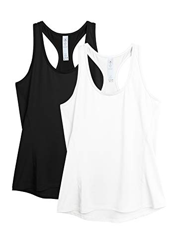 icyzone Camiseta de tirantes para mujer, 2 unidades, deportiva, espalda cruzada, para yoga, fitness, gimnasio negro/blanco S