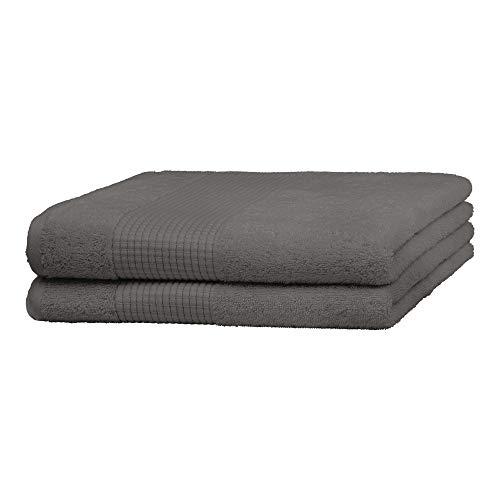 Merana Rome Juego de toallas | absorbentes, suaves y sin pelusas | Toalla de ducha de rizo en calidad de lujo de algodón orgánico pesado 590 GSM (gris tiburón, 2 toallas de ducha (70 x 140 cm)