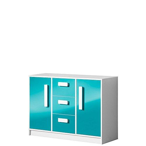 Furniture24 Kommode Sideboard GULIVER 06 mit 2 Türen und 3 Schubladen (Weiß/Türkis Hochglanz)