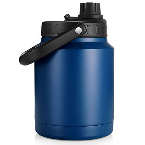 Sursip 64 Oz Vacuum Insulated Water Jug,Half Gallon Stainless Steel Double Walled Water Bottle,Hot Cold,18 8 Food-grade Stainless Steel Water Flask,Travel Camping Sports Outdoor Driving-Navy Blue