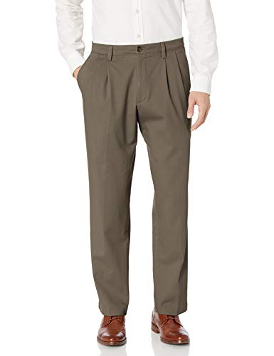 Dockers Men's Classic Fit Easy Khaki Pants - Pleated D3, Dark Pebble (Stretch), 36 30
