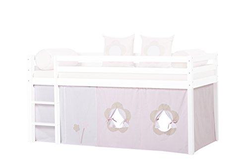 Hoppekids Bettvorhang Gardinenset inkl Gardinen Drahtseil für Halbhochbett, Spielbett Maße 90 x 200 cm, rosa, Textil, Fairytale Flower, 200 x 90 x 72 cm