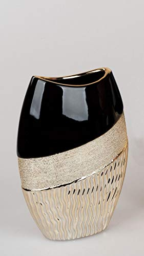 ITRR - Jarrón ovalado (18 x 25 cm), color negro y dorado
