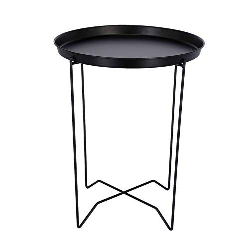 Clas Ohlson  Modern Scandi Style Round Black Metal Coffee Table (Plant Stand, Coffee Table) With 42cm Detachable Tray Top & 53cm Height