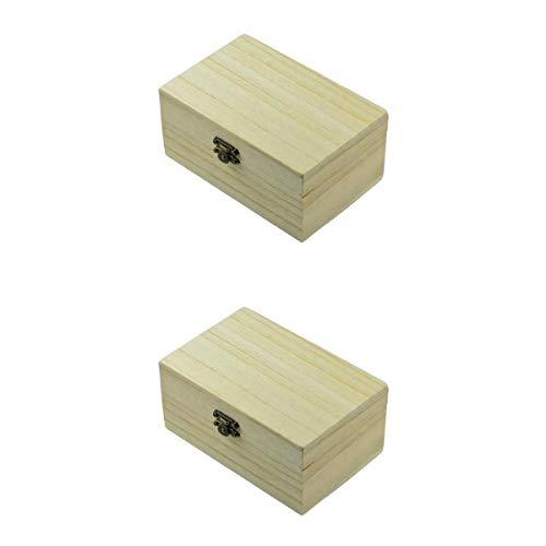Bonarty 2X Caja de Almacenamiento de Madera Natural Sin Pintar Simple Caja de Artesanía de Joyería de Cofre Memor