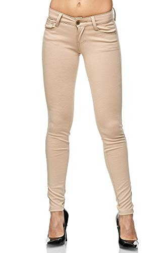 Elara Damen Stretch Hose Skinny Fit Jeggings Chunkyrayan 2488-3 Beige 36 (S)