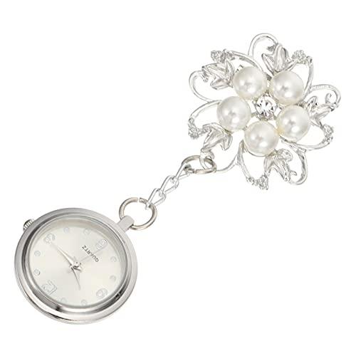 UKCOCO Reloj de Enfermera con Correa Retráctil: Clip de Perla de Diamantes de Imitación en El Reloj de Bolsillo- Reloj Médico Portátil Colgante de Flores para Médicos Regalos Navideños de