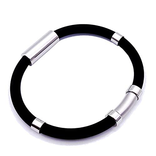 Frenaki Pulsera de Equilibrio de Iones atléticos, Pulsera antiestática, Pulsera de Silicona Deportiva de Iones Negativos de energía de Equilibrio Unisex (Negro)