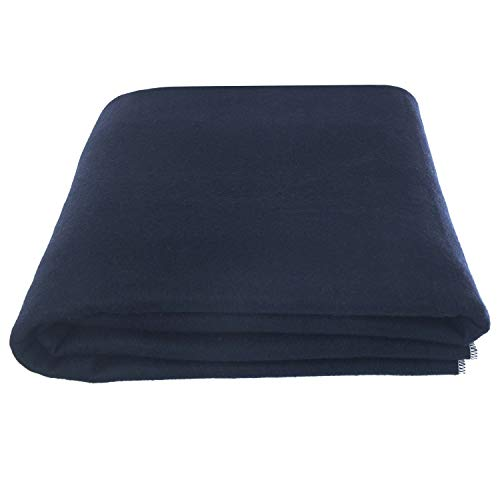 """EKTOS 80% Wool Blanket, Navy Blue, Light & Warm 3.7 lbs, Large Washable 66""""x90"""" Size, Perfect for Outdoor Camping, Survival & Emergency Preparedness Use"""