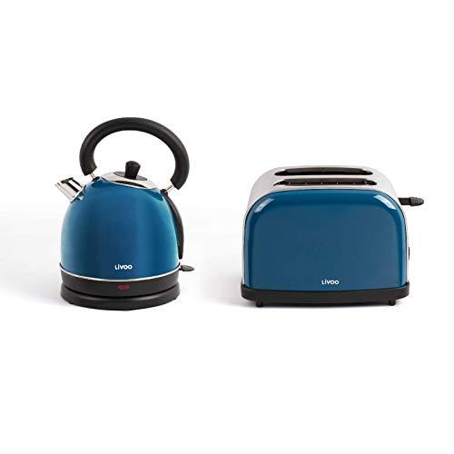 Wasserkocher Kabellos und Toaster Blau Set Frühstücksset Edelstahl (Automatische Abschaltung, Verdecktes Heizelement, 1,8 Liter, 2 Scheiben Toastautomat)