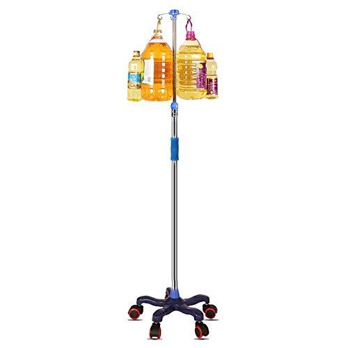 Portable cart - GR/Medizinischer Infusionsständer mit 5 Rädern - Höhenverstellbarer Tropfständer mit Schaumstoffarmlehne, 4 Haken, einfache Installation