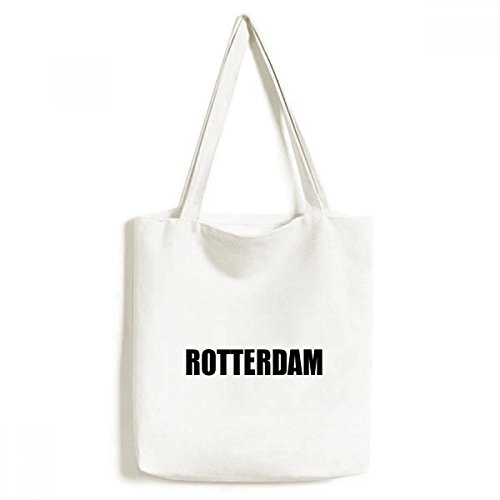 DIYthinker Heren Rotterdam Nederland Stadsnaam Milieuvriendelijk Tote Canvas Tas Winkelhandtas Ambachtelijk Wasbaar 33 cm x 40 cm (13 inch x 16 inch) Multi kleuren