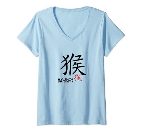Mujer Mono Zodiaco chino - Astrologa Kanji Caligrafa Diseo Camiseta Cuello V