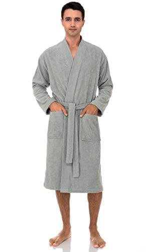 TowelSelections Men's Robe, Turkish Cotton Terry Kimono Bathrobe Medium/Large Storm Gray