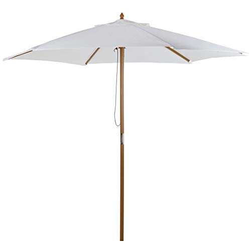 Outsunny Sonnenschirm, Gartenschirm, 3-stufig, Sonnenschutz, Bambus 180/㎡ Polyester, Creme, Ø2,5 x 2,3 m