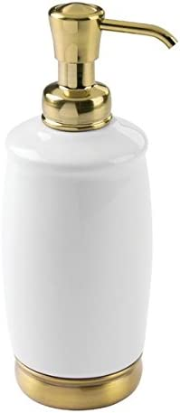 InterDesign York Tall Soap Dispenser, Ceramic Soap Pump for The Bathroom, White/Soft Brass
