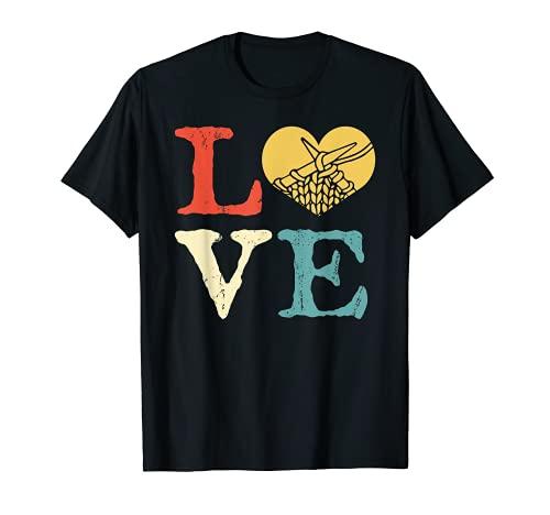 Regalo de punto retro - Vintage Love Knitting Camiseta