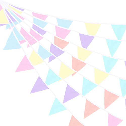 Whaline 39.5ft 42 Pieces Bunting Banner, Macarons Fabric Flag Banner Multicolor Triangle Flags Pennant Bunting Garlands for Wedding Baby