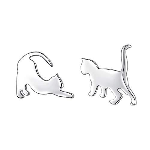 925 Sterling Silber Tier Katze Ohrstecker Ohrringe für Damen Frauen Mädchen Katzen Schmuck Geschenk