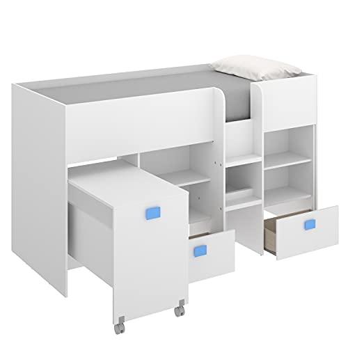 HABITMOBEL Cama Alta compacta con Escritorio extraíble, Dos cajones y estanterías 120 cm (Alto) x 205 cm (Ancho) x 107 cm (Prof.) Azul