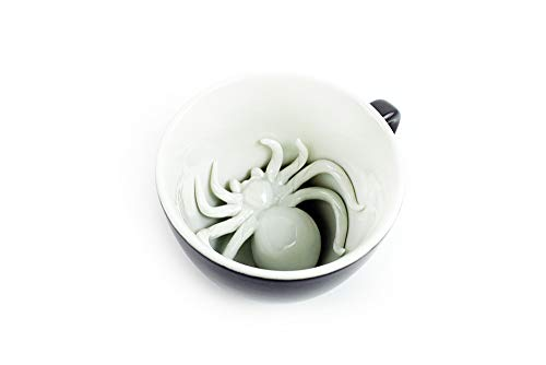 Creepy Cups Spider Ceramic Cup 11 Ounce Midnight Black Hidden Animal Inside Mug Halloween Holiday And Birthday Gift For Coffee Tea Lovers
