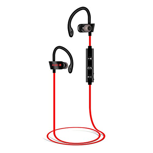 Bluetooth Kopfhörer, Kopfhörer Sport, Sportkopfhörer Joggen/Laufen Bluetooth 4.1, In Ear Kopfhörer mit Mikrofon für iPhone Android (rot)