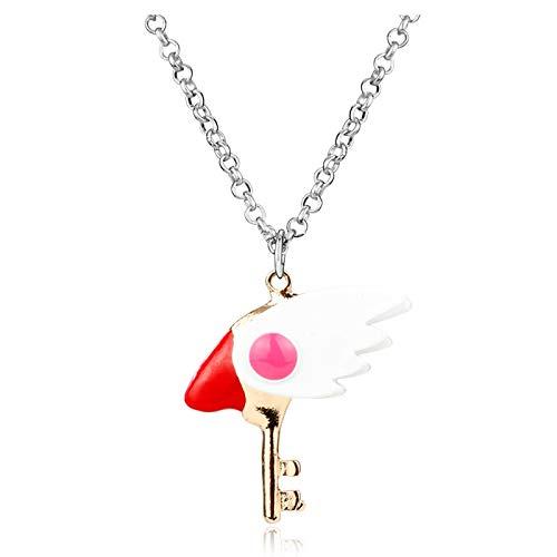 DYKJ Hot Anime Card Captor Sakura Collar Sweet Sakura Wand Key Colgante Collar Charms Colgantes Collier Mujeres Chica Moda Collar