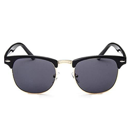MOJINGYAN Zonnebril Half Metalen Zonnebril Mannen Vrouwen Ontwerper Bril Spiegel Zon Glas Mode Luipaard Rijden Zonnebril Goud Grijs