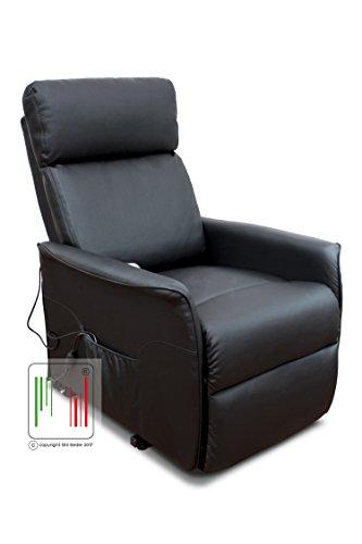 Stil Sedie Poltrona Nancy Recliner reclinabile Relax alzapersona con Telecomando e 2 rotelle (Nero)