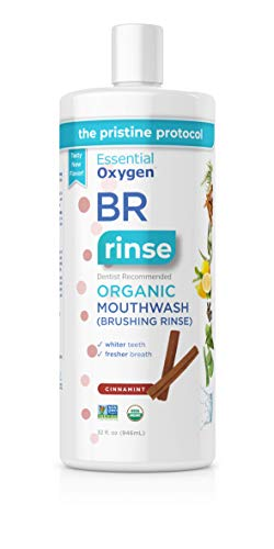 Essential Oxygen BR Certified Organic Brushing Rinse, All Natural Mouthwash for Whiter Teeth, Cinnamint, Refill, 32 Fl Oz