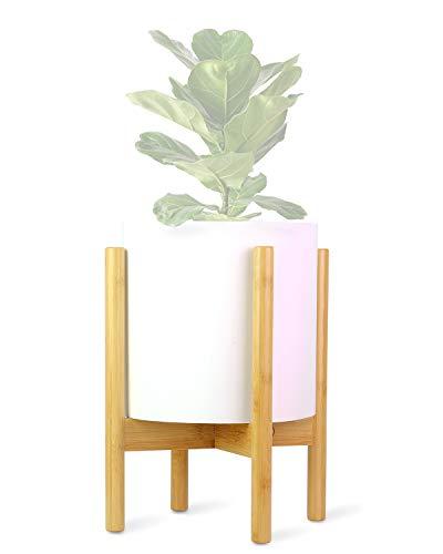 ECBANLI Pflanzenständer, Retro Mitte des Jahrhunderts Pflanzenhalter, Holz-Blumentopf-Ständer Topfgestell für Innen- und Außenbereiche, bis zu 25 cm Blumentopf, natürlicher Bambus
