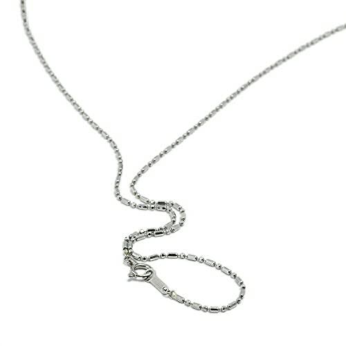 [ルビイ] ホワイトゴールド K18 カット変形ボールBR チェーン ネックレス 幅1.2mm 長さ60cm