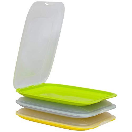 Gariella - Contenitore per salsicce impilabile di alta qualità per salsicce, 3 pezzi, colore giallo, grigio e verde, dimensioni 25 x 17 x 3,3 cm