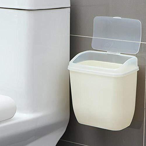 cineman Mini Abfallbehälter, Abnehmbarer Mülleimer Mit Deckel Zur Wandmontage, Aufbewahrungsbox Abfalleimer mit Abdeckung für Badezimmer, Küche, WC