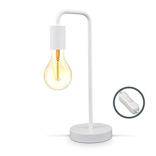 B.K.Licht I Lámpara de mesa retro curvada I Blanco mate I E27 I cable con interruptor I metal I lámpara de lectura redonda